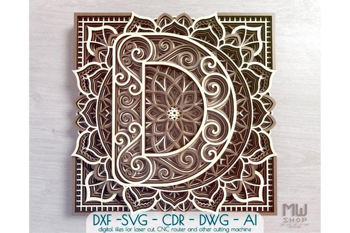 Mandala Letter D, Alphabet letter D pattern, Letter D SVG