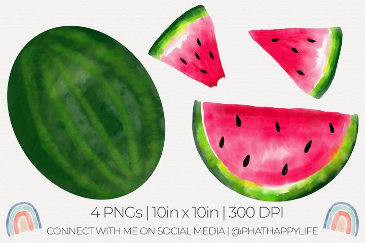 Watercolor Watermelons Sublimation - 4 Watercolor PNGs