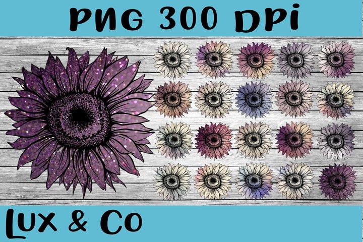 Sunflower Purple Bundle Sublimation PNG