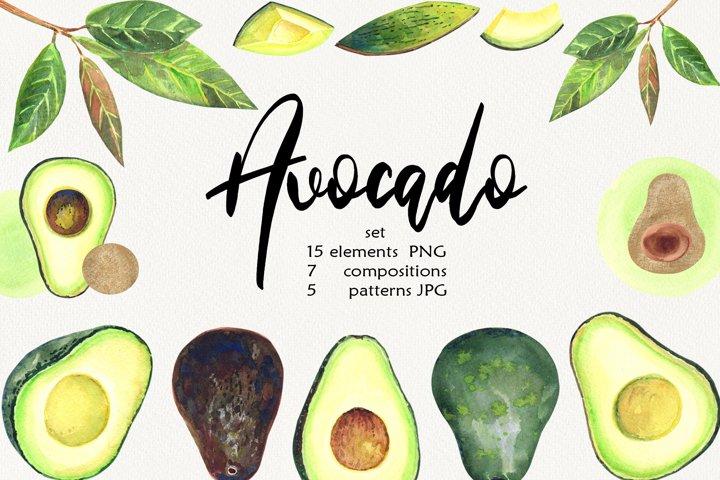 Watercolor Avocado Clip Art