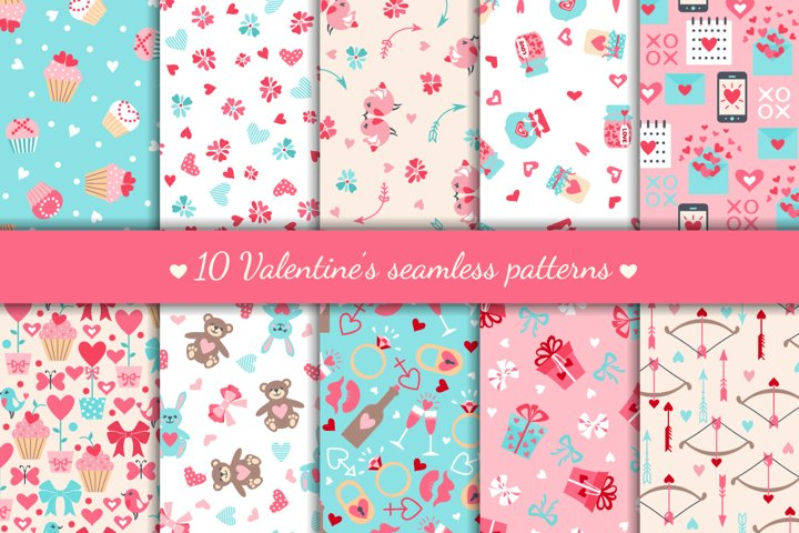 Set of Valentines Day Seamless Patterns