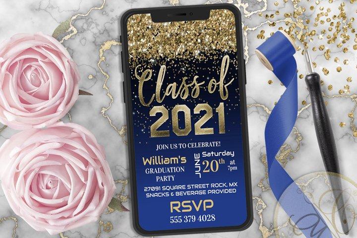 Royal Blue Graduation Phone Invitation, Class of 2021