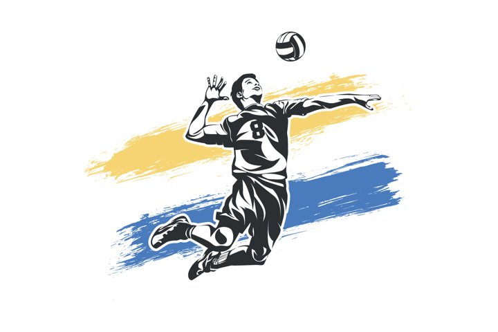 Smash from volleyball player vector illustration