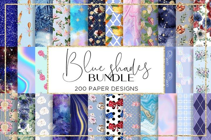 Blue Shades BUNDLE digital paper pattern