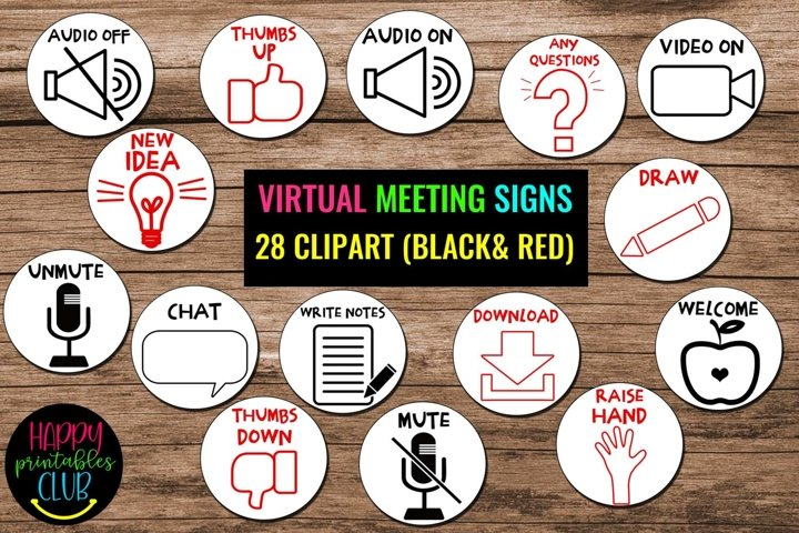 Virtual Meeting Signs Clipart- Virtual Classroom Icons