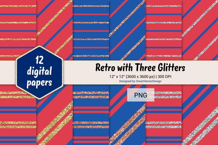 Pinstripes Retro with Three Glitters Color Combo #100