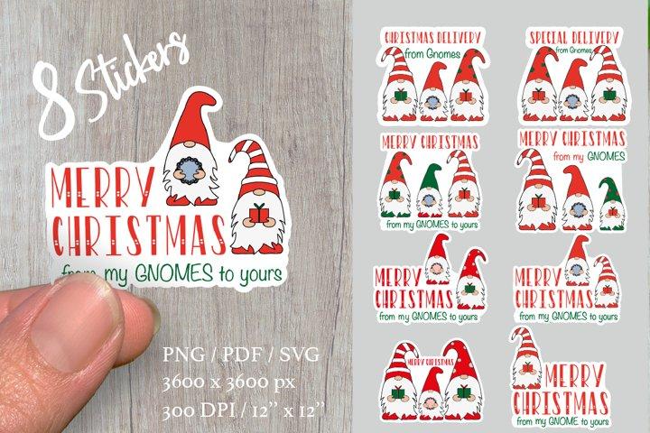 Christmas stickers bundle. Christmas gnome.