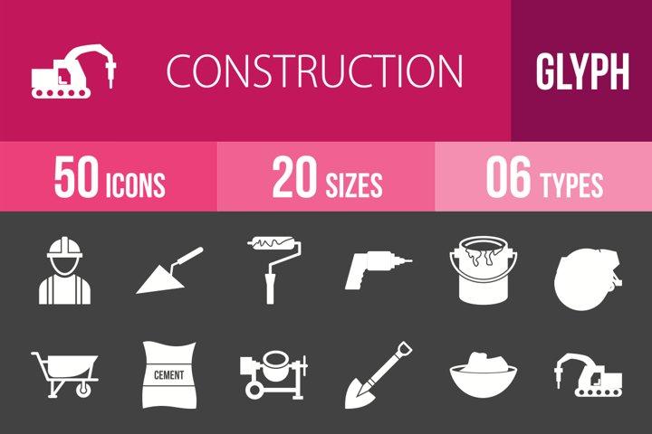 50 Construction Glyph Inverted Icons Season II