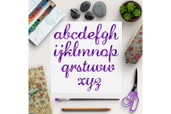 Watercolor Font, Calligraphy Font, Watercolor Alphabet