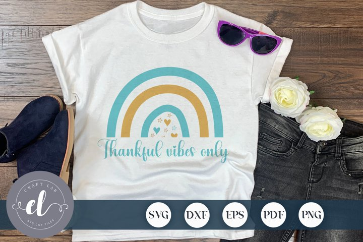 Thankful Vibes Only, Boho Rainbow SVG, Baby Clipart SVG