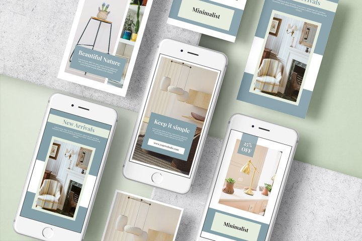 Stories template furniture and interior design social media