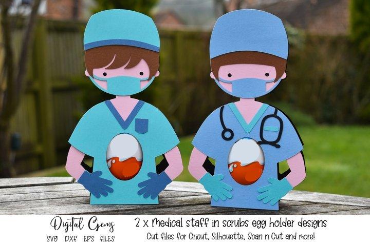 Medical staff in scrubs. Doctor / Nurse egg holder designs