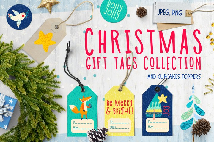 Christmas Gift Tag, cupcakes toppers