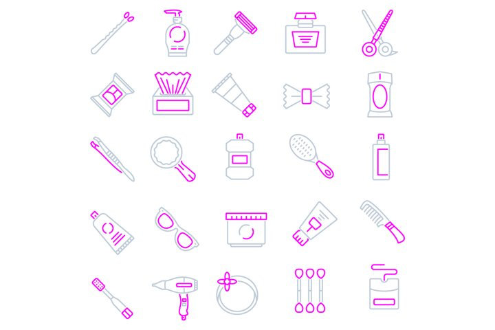 Personal care products icons set