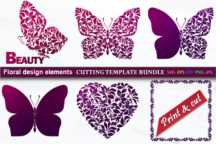 Floral butterfly and design elements SVG Template Bundle
