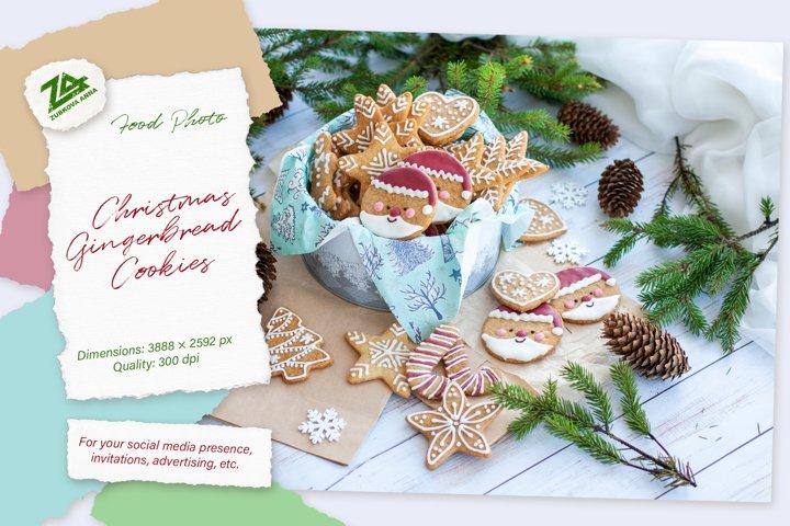 Christmas Home made Gingerbread Cookies. Cute Santa Claus