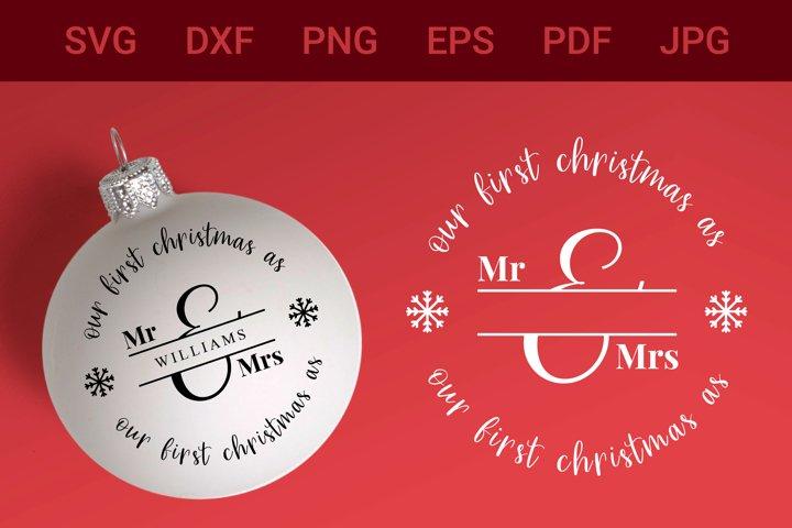 Our First Christmas, Christmas Monogram SVG, Couple monogram