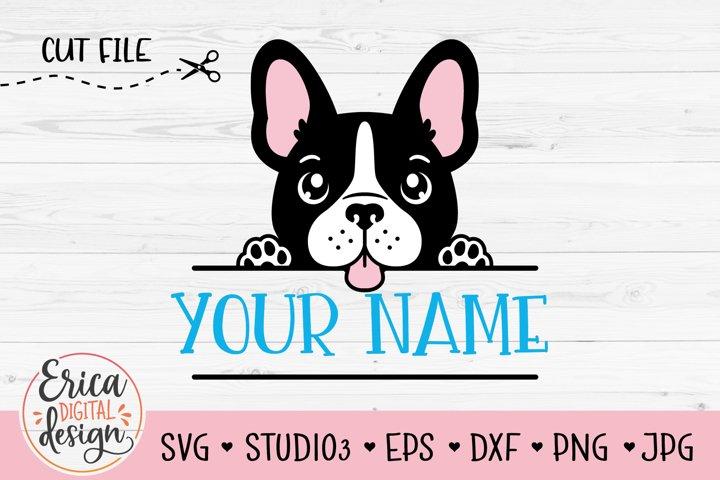 French Bulldog SVG Baby dog Boston Terrier puppy Name Frame