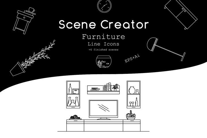 Interior scene creator. Furniture line icons.