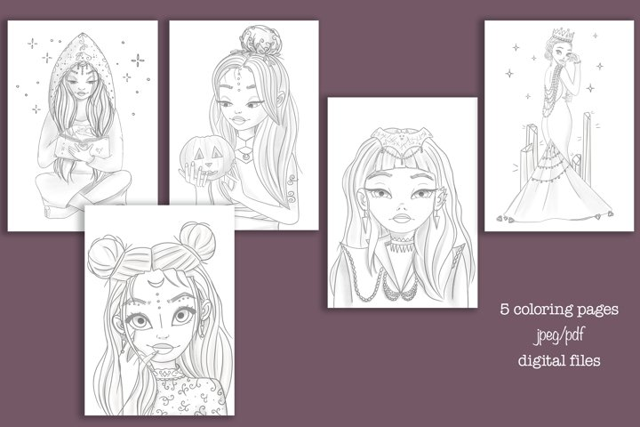 Coloring pages for adult and for kids in jpeg and pdf