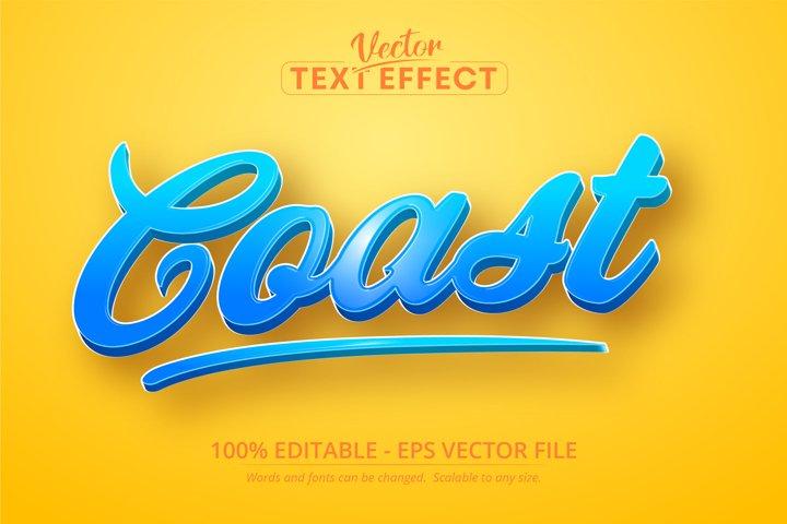 Coast text, cartoon style editable text effect