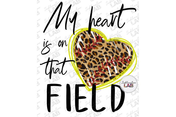 Softball Sublimation File My Heart is on That Field Leopard