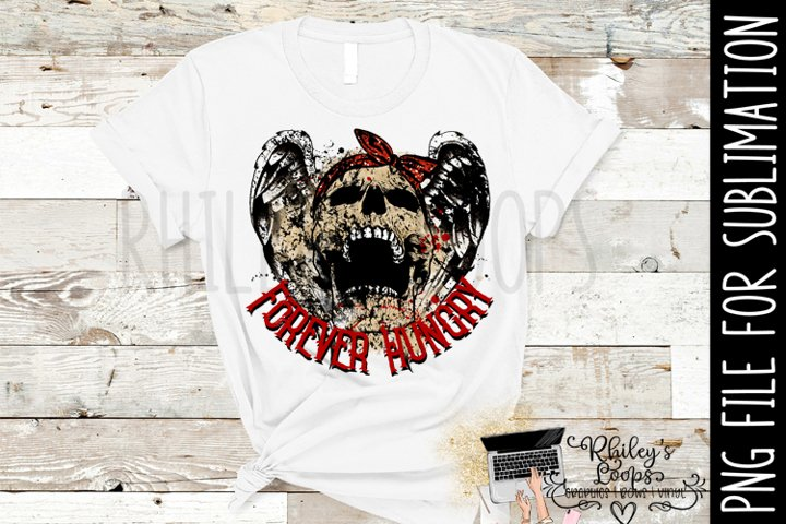 Forever Hungry Skull PNG for Sublimation