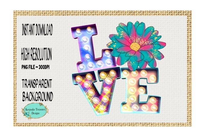 Love Flower, Marquee Letters, Sublimation Design