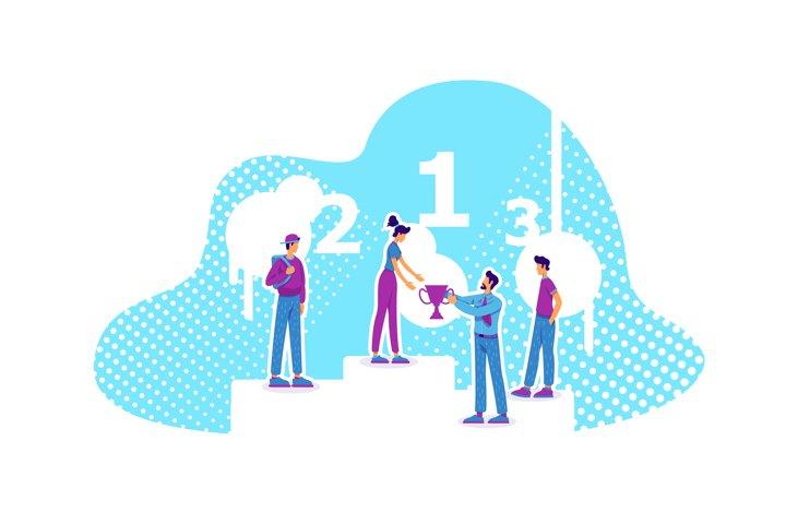 Career achievement flat concept vector illustration