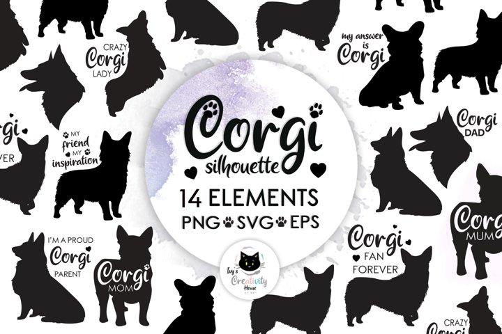 Corgi Silhouette Dog SVG   Dog Mom Bundle for Cricut