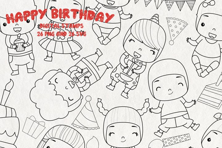 Birthday Stamps SVG | Set of 26 |