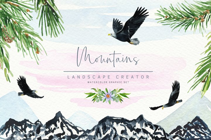 Watercolor Mountains Creator.Greenery,Wreath,Background PNG