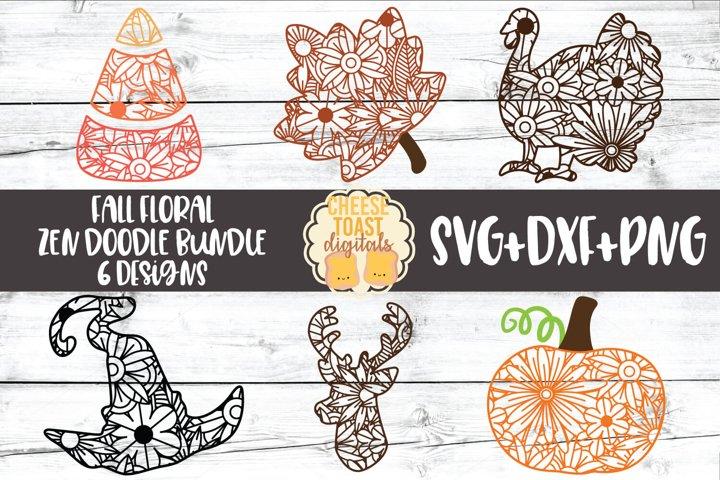 Fall Zen Doodle Art Bundle - Halloween SVG PNG DXF Cut Files
