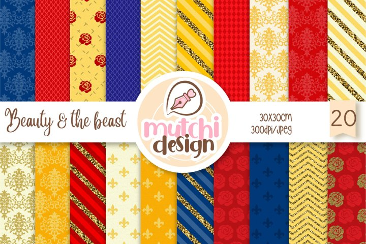Beauty & the Beast inspired Digital Papers