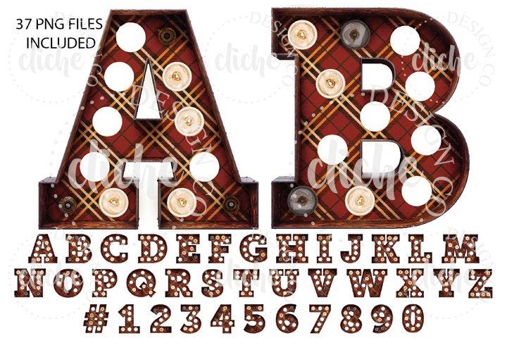 Fall Plaid Marquee Alphabet Sublimation Set