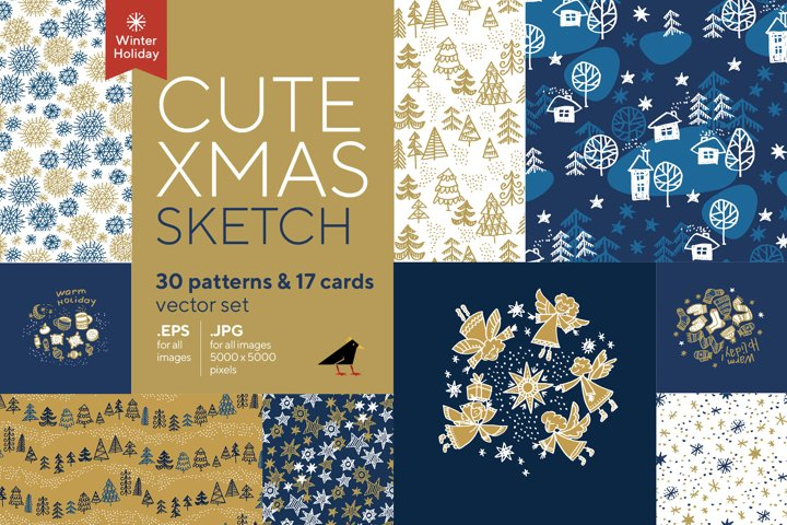 Cute Xmas Sketch Patterns Collection