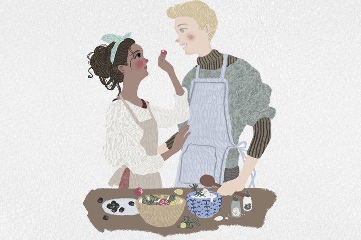 Couple in love - valentine cute cartoon illustration