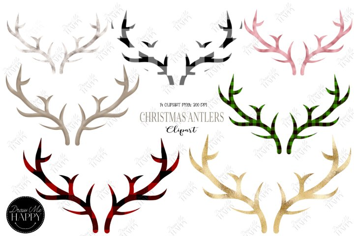 Christmas Antler Clipart, Antler Clipart, Plaid Christmas