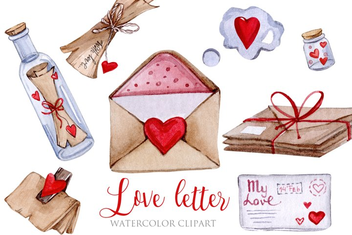 Watercolor Valentine Day Love Letter Clipart PNG