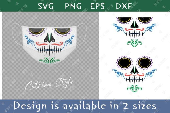 Elegant Sugar skull design with colorful tribal pattern.