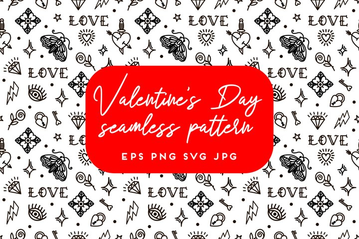 Valentines Day old school style seamless pattern | Part 4