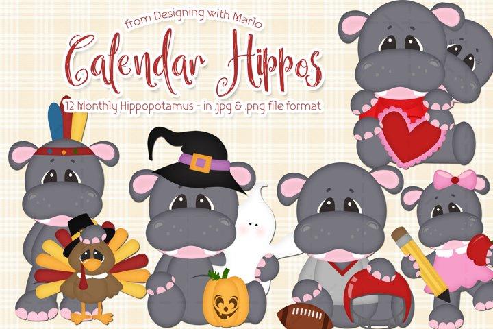 Calendar Hippotamus Clipart