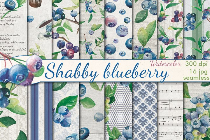 Watercolor Blueberry seamless patterns