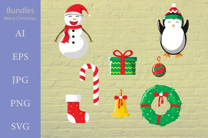 Bundle Merry Christmas, santa snowman, bell, santa socks,etc