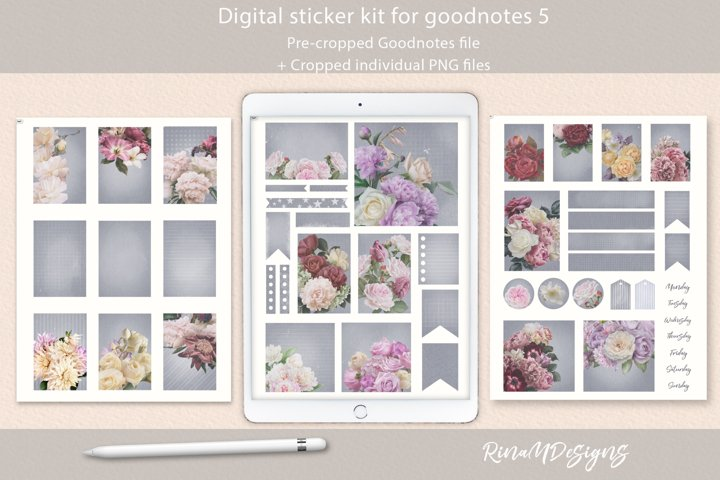 Goodnotes stickers. Grey craft digital planner stickers