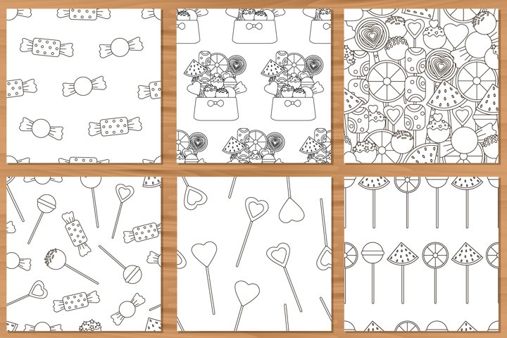 6 Candy seamless pattern. Lollipops background. Sweets.