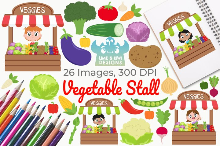 Vegetable Stall Clipart, Instant Download Vector Art