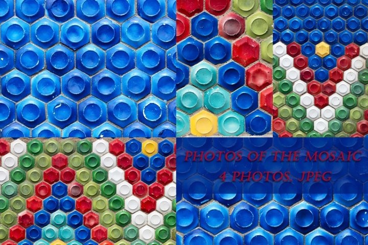 4 photos of mosaics with geometric patterns.