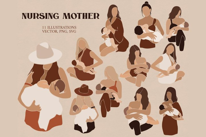 Abstract Nursing mother clipart
