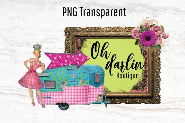 Vintage Camper, Logo Template, Pinup Girl, Trailer, Png